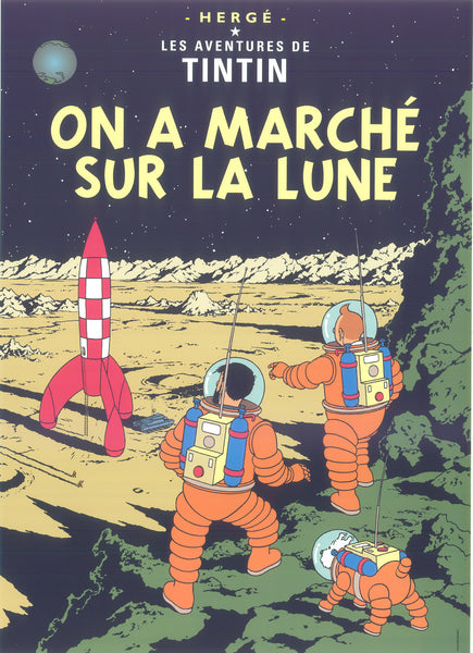 Tintin Postcard: On A Marche Sur La Lune (Explorers on the Moon)