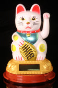 Regal White Waving Solar Powered Maneki