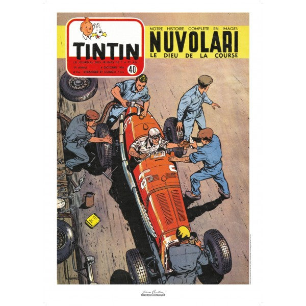 Poster Jean Graton - Nuvolari From the Cover of the Journal of Tintin 1954