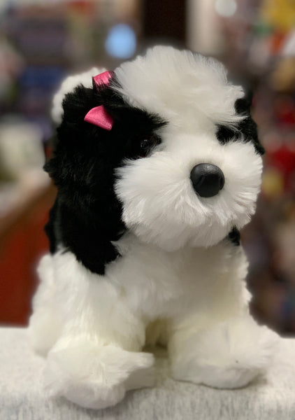 Douglas Poofy Shih Tzu Black and White Dog Plush 10""