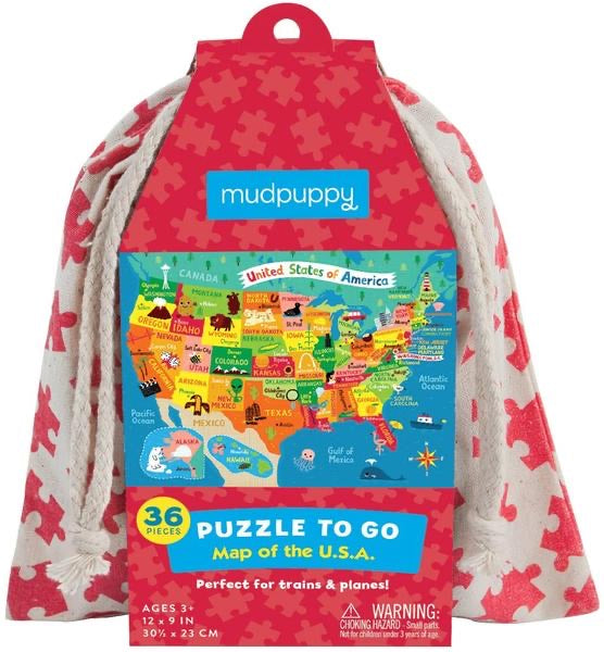 36 Piece Map of the U.S.A. Puzzle To Go