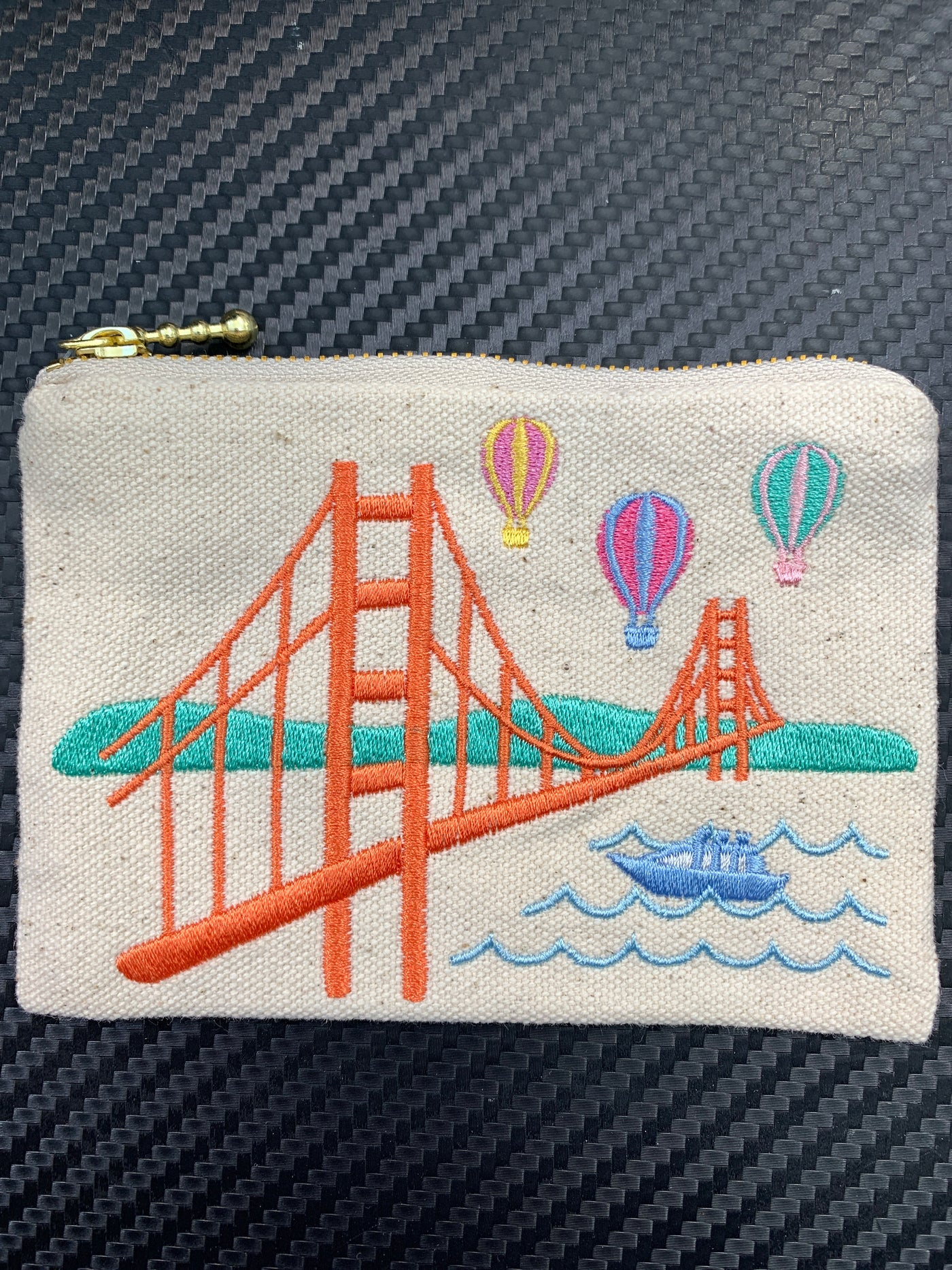 Hot Air Balloons Over The Golden Gate Bridge Embroidered Coin Purse