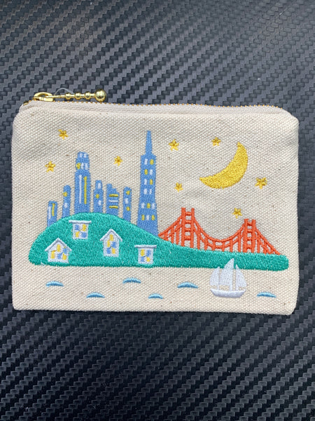 San Francisco City Skyline Embroidered Coin Purse