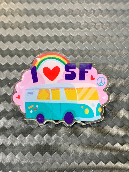 Groovy I Heart San Francisco VW Bus Pin
