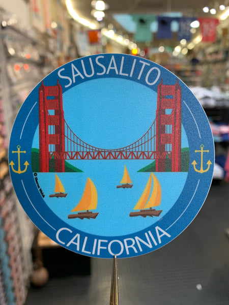 Sausalito California Golden Gate And Sailboats Sticker