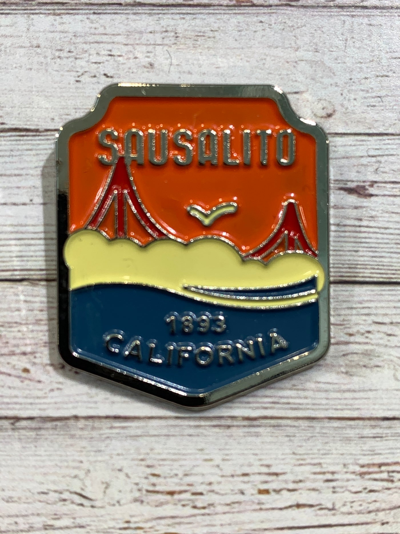 Sausalito Foggy Golden Gate Enamel Pin