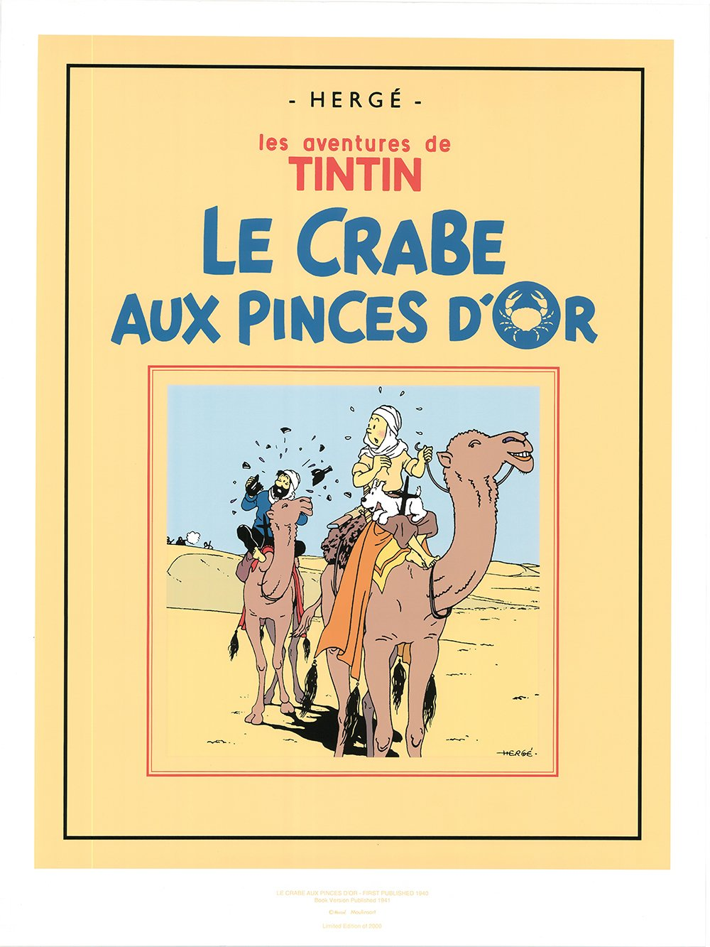 Le Crabe Aux Pinces D'or Limited Edition Book Cover Poster