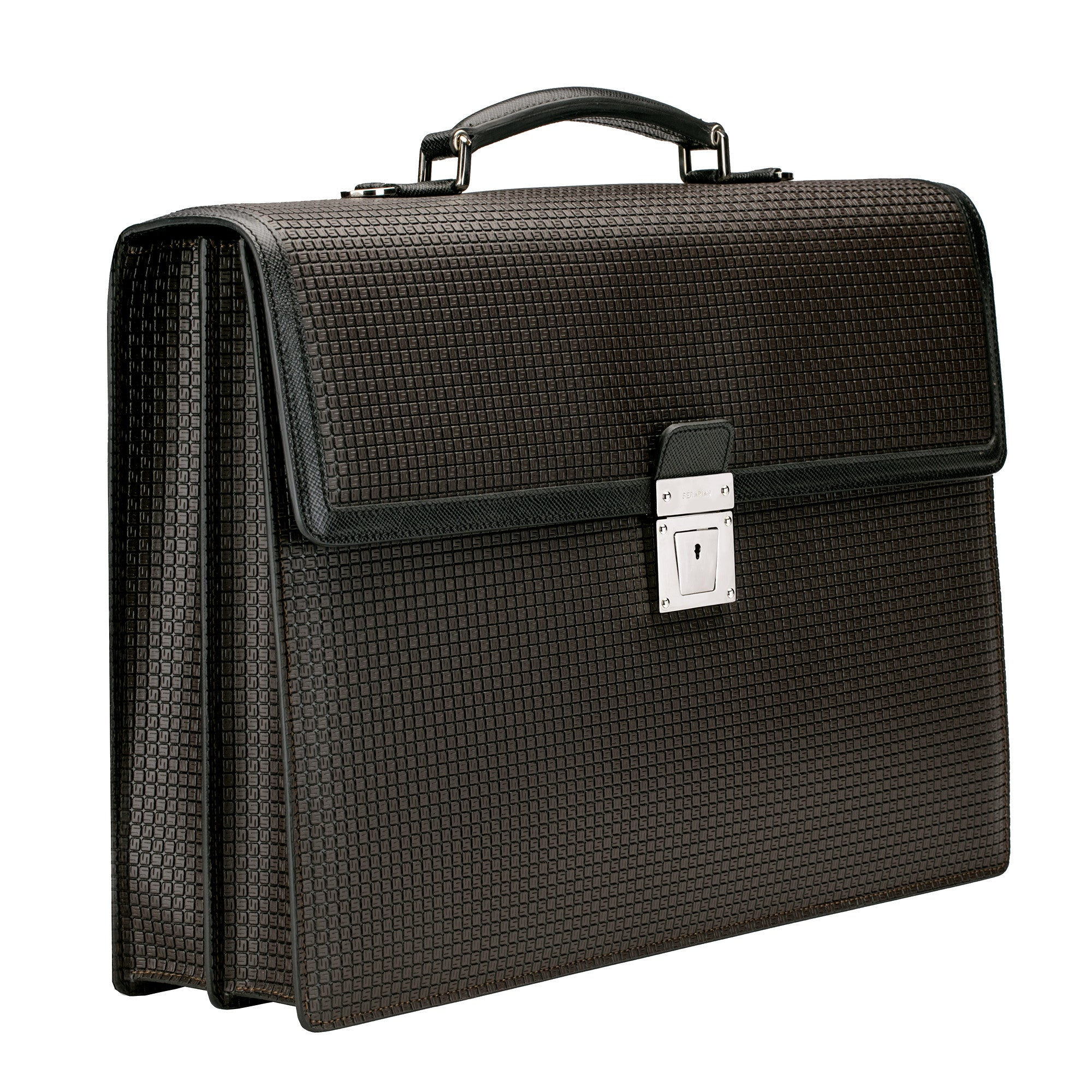 Double Briefcase w/ Lock Stepan/Evolution - Chocolate Brown/Black
