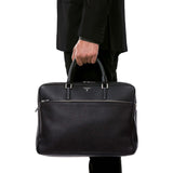 Double Briefcase With Zip Cachemire - Black
