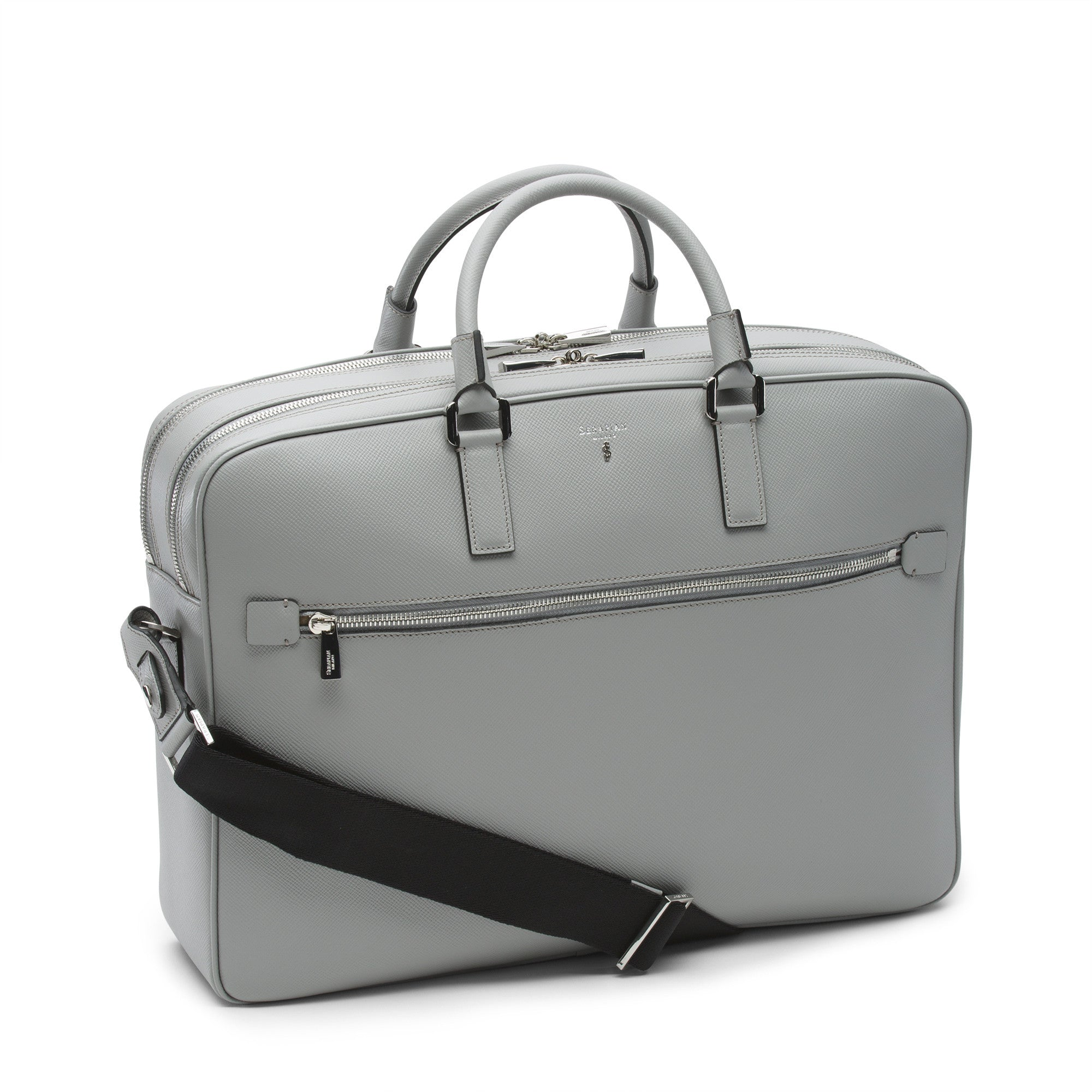 Double Briefcase with Zip Evolution - Cement