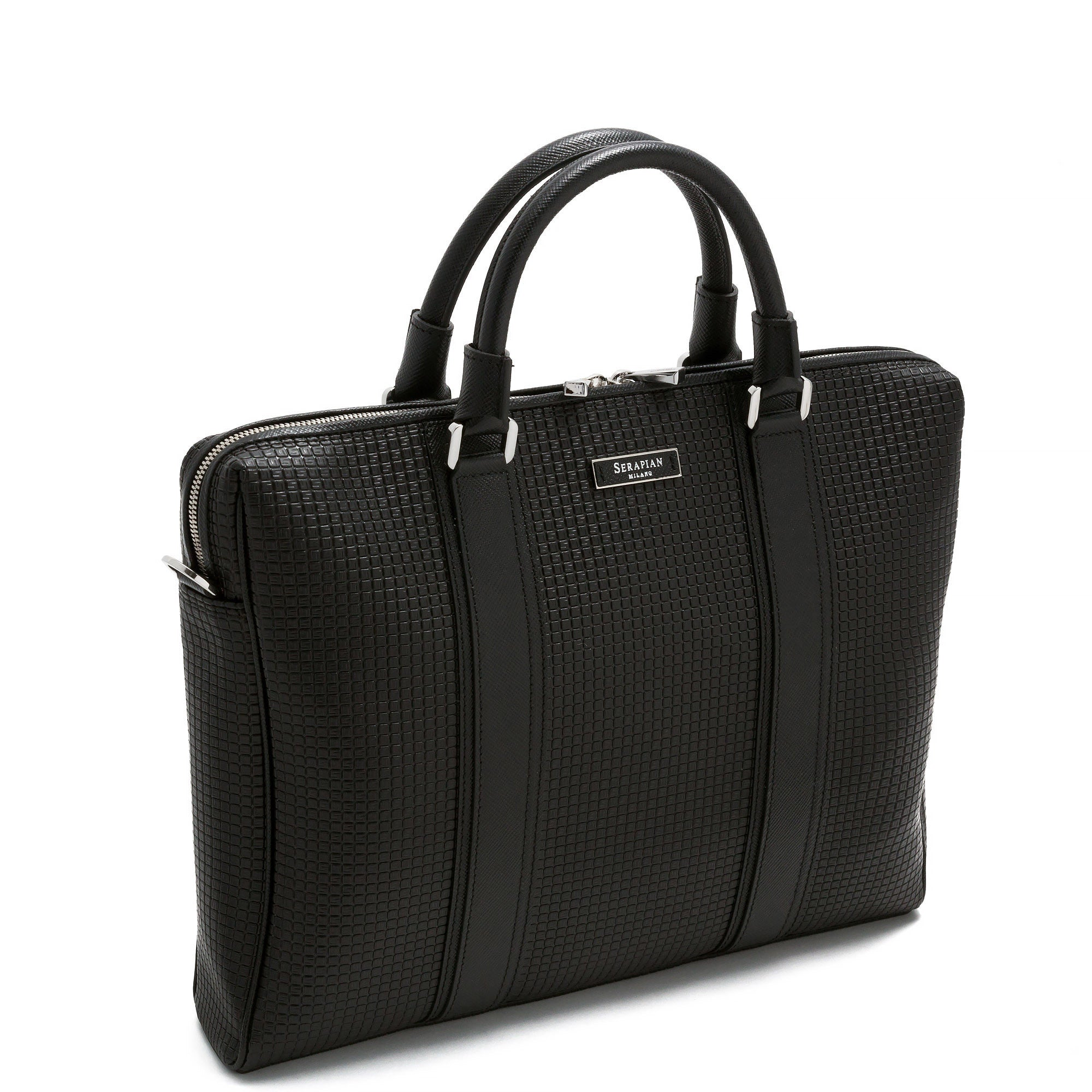 Single Briefcase with Zip Stepan/Evolution - Black/Black