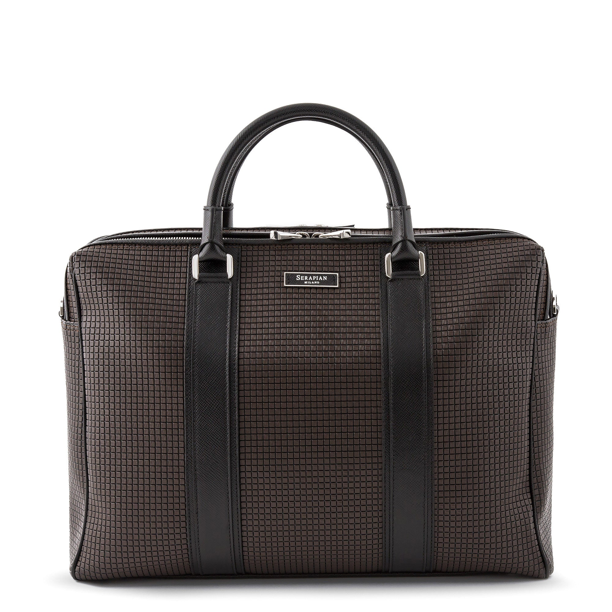 Double Briefcase with Zip Stepan - Chocolate Brown