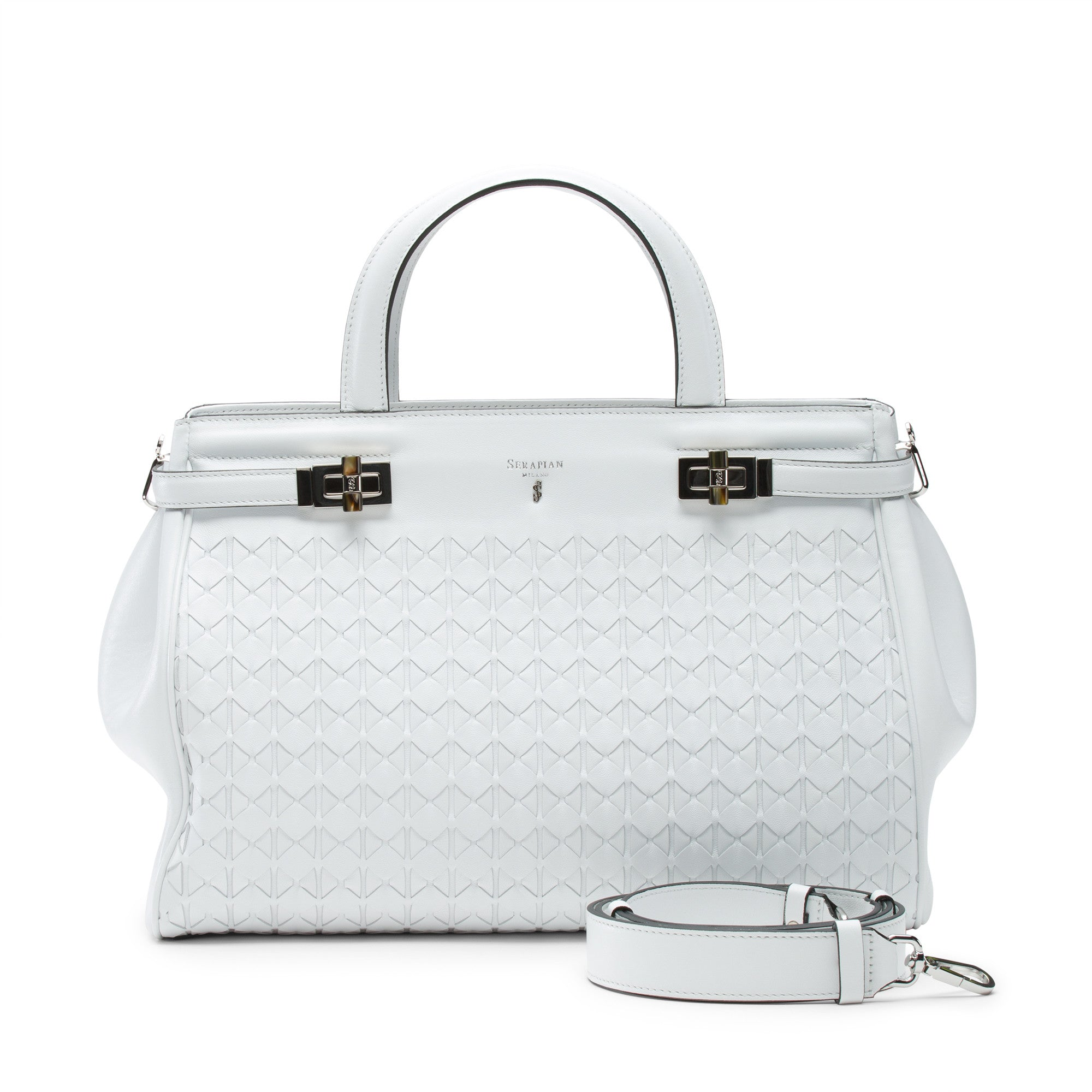 Soft Meline in optical white nappa leather. Beautiful mother of pearl resin and silver hardware. Lined in microfiber suede, zippered inside pockets as well as pocket for cell phone. Detachable shoulder strap can also be used as a crossbody.