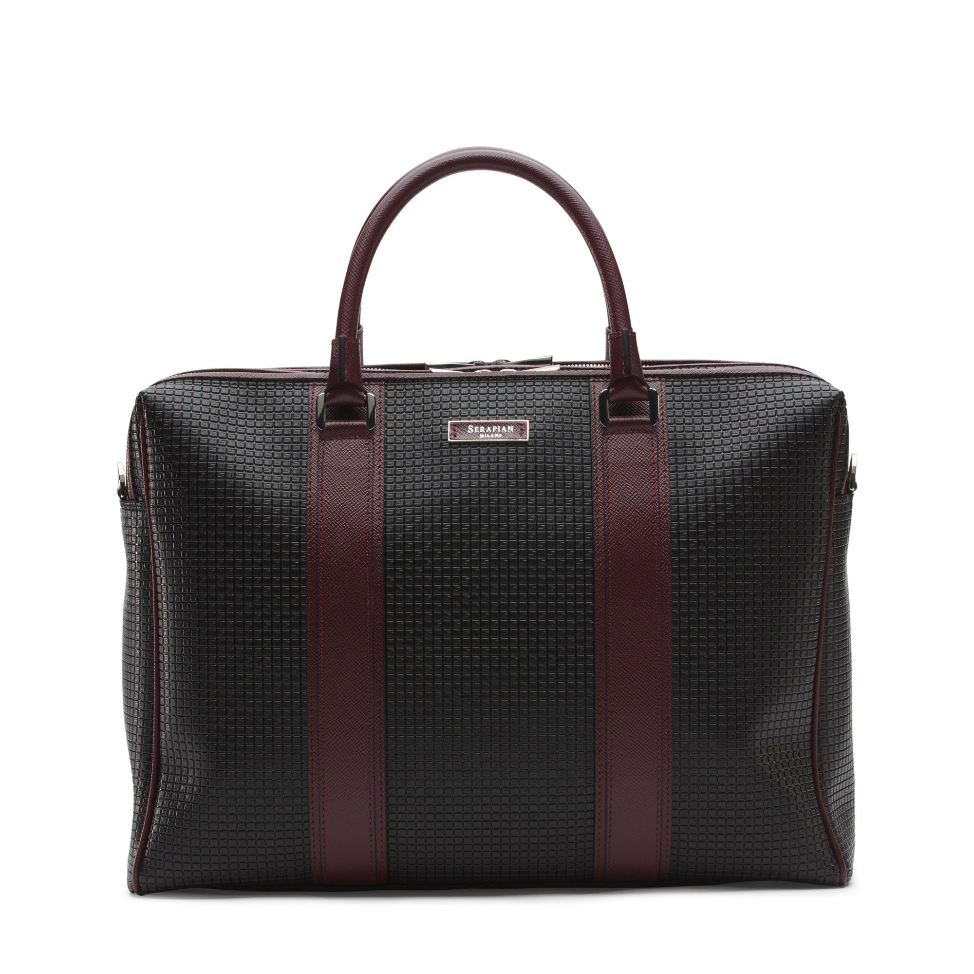 Double zip Briefcase Stepan/Evolution - Black/Ruby Red