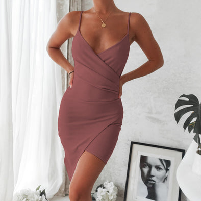 Adalene Wrap Dress - Mauve