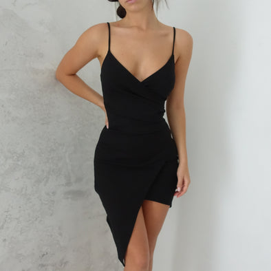 Adalene Wrap Dress - Black