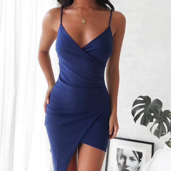 Adalene Wrap Dress -Navy