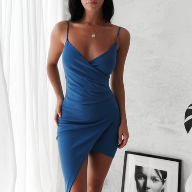 Adalene Wrap Dress - Blue