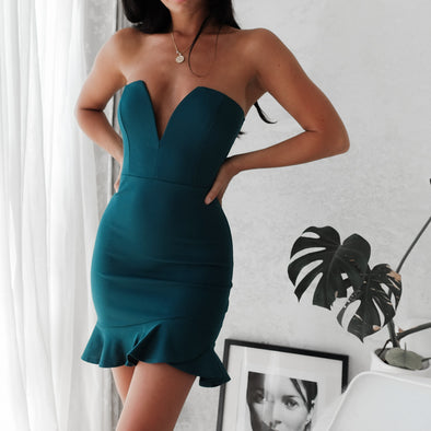 Arielle Strapless Dress -Emerald