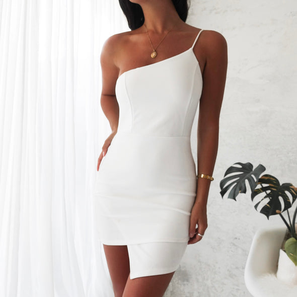 Kendal One Strap Dress- White