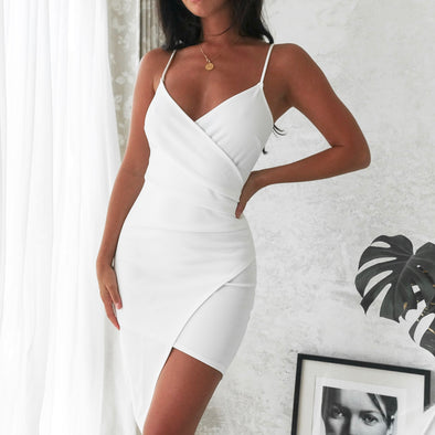 Adalene Wrap Dress - White