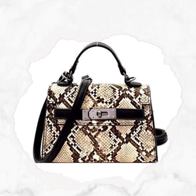 Snake Shoulder Bag - Beige