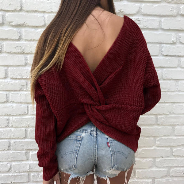 Avery Twist Sweater - Burgundy