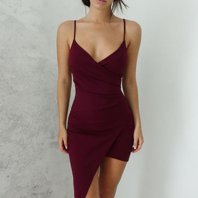 Adalene Wrap Dress - Burgundy