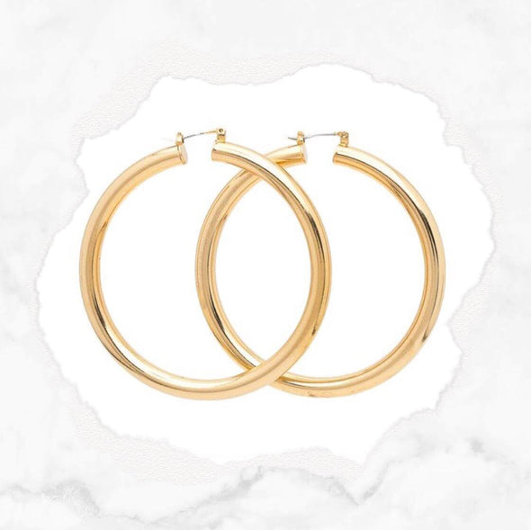 Solid Hoop Earrings -Gold