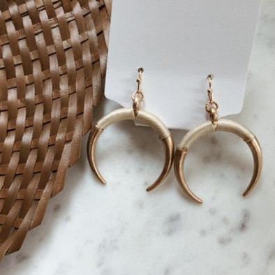 Crescent Horn Drop Earrings