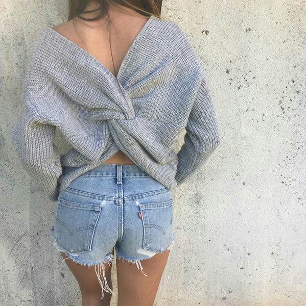 Avery Twist Sweater - Gray