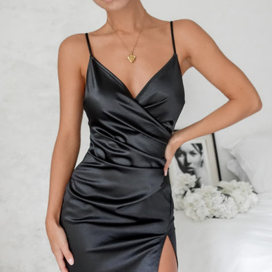 Natalie Slit Dress - Black