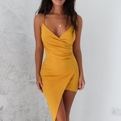 Adalene Wrap Dress - Mustard