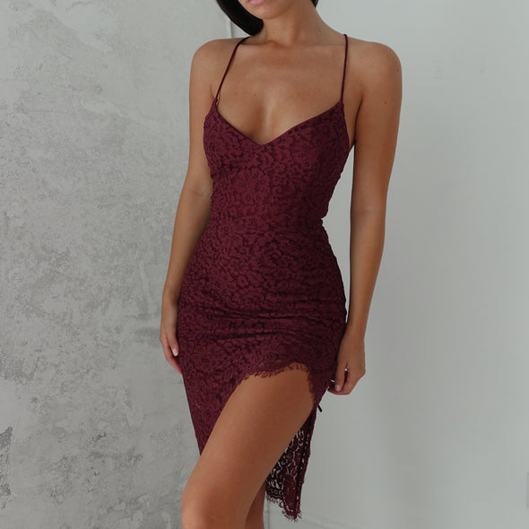 Milan Lace Dress - Burgundy