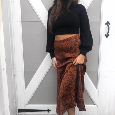 Chrissy Midi Skirt - Rust Leapord