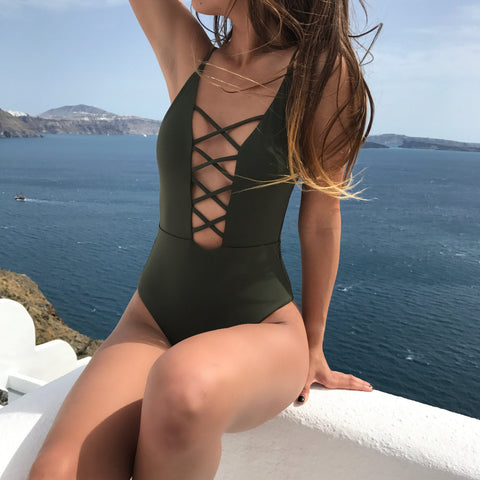 Default Type - Caged Front One Piece Swimsuit -Olive