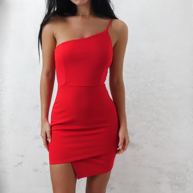 Kendal One Strap Dress- Red