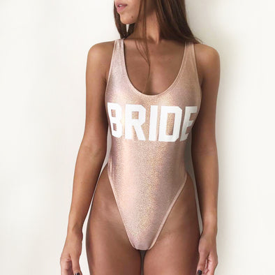 Bride One Piece Swimsuit- Gold Rose