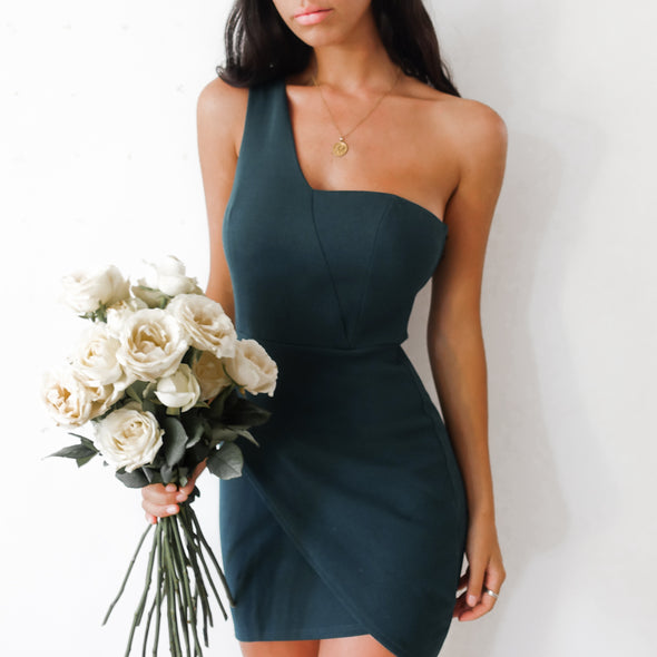 Rome One Strap Dress - Emrald