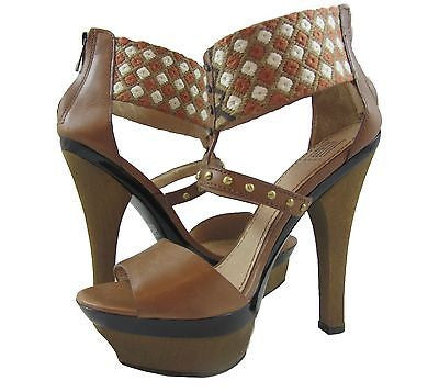 Pelle Moda Leather & Tribal Print Fabric Gladiator Sandal with Wooden Platform and Heel - 8 M