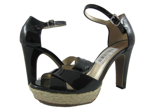 Antonio Melani Black Patent Leather Mary Jane Sandal with Jute Platform - 6.5 M