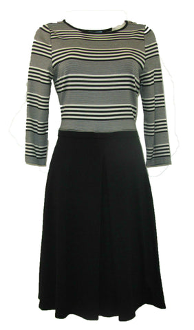 Antonio Melani Naomi Black and White Striped Bodice Dress - Medium