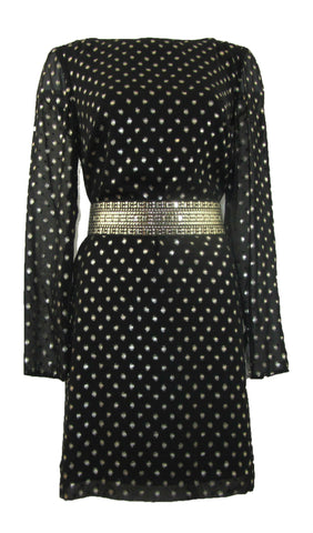 Gianni Bini Diana Black & Silver with Metallic Dots Loose Fit Dress - Medium