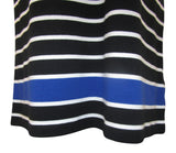 Lauren Ralph Lauren Black & White Stripes Faux-Leather Trim Cotton Dress - Large