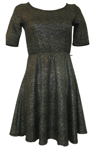 Gianni Bini Fifi Black & Gold Foil Knit Junior Dress - Extra Small
