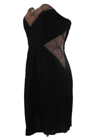 THML Black with Tribal Detail Strapless Junior Dress - Medium