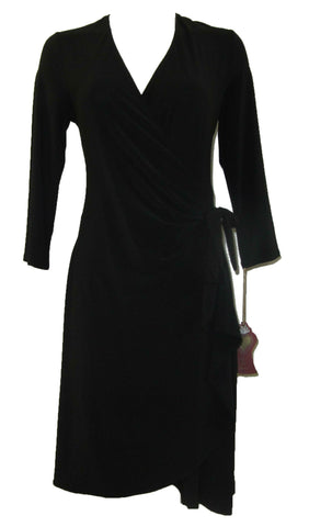 From The Heart Black 3/4 Sleeve Wrap Dress with Knot Detail on Wrap - Large