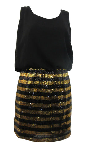 Gianni Bini Arthur Black & Gold Sequin-Accented Dress - Medium