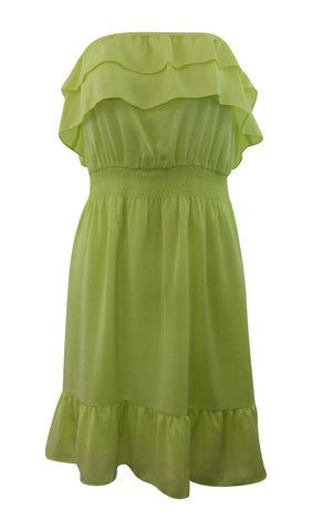 Gianni Bini Green Yellow Silk Strapless Dress - Small