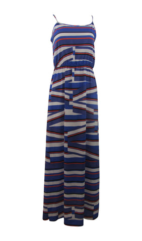 Cremieux Julian Spaguetti Straps Cobalt / White / Red Stripes Maxi Dress - Small